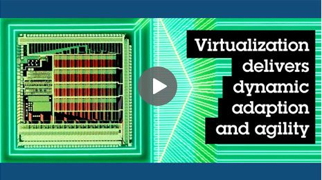 Abstraction of computer processor on modern green background. Click play button to watch Virtualization Without Limits.